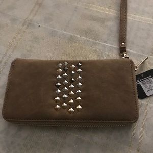 NET Wristlet wallet with stud decoration